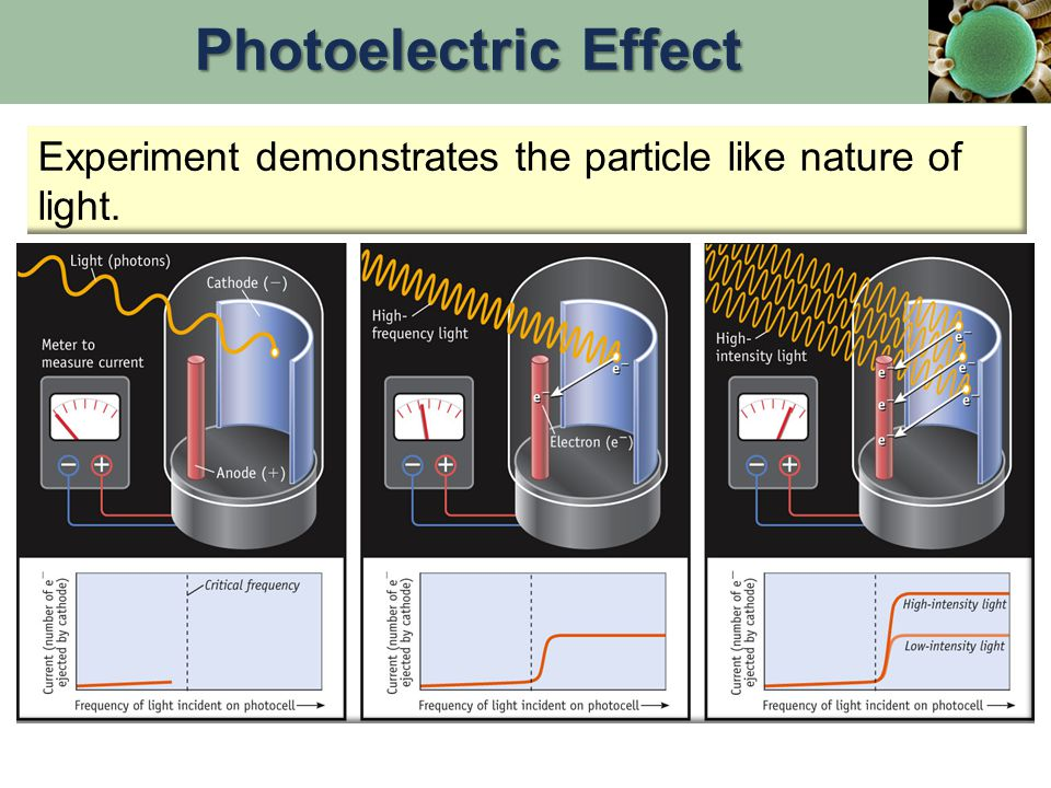 Experiment demonstrates the particle like nature of light. Photoelectric Effect