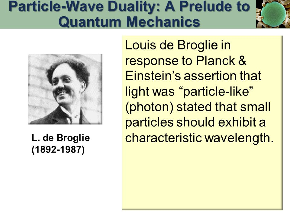 Louis de Broglie in response to Planck & Einstein's assertion that light was particle-like (photon) stated that small particles should exhibit a characteristic wavelength.