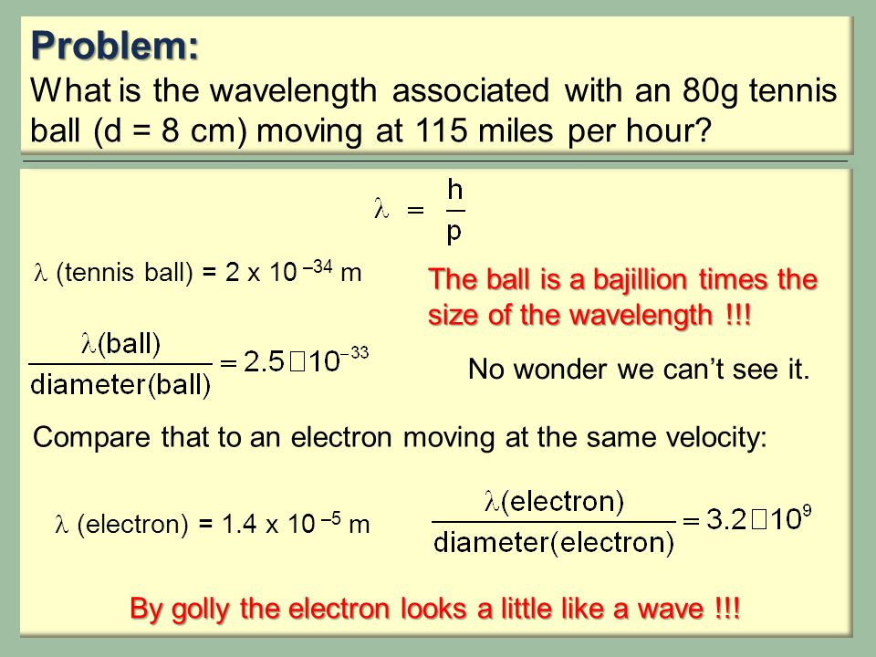 Problem: What is the wavelength associated with an 80g tennis ball (d = 8 cm) moving at 115 miles per hour.