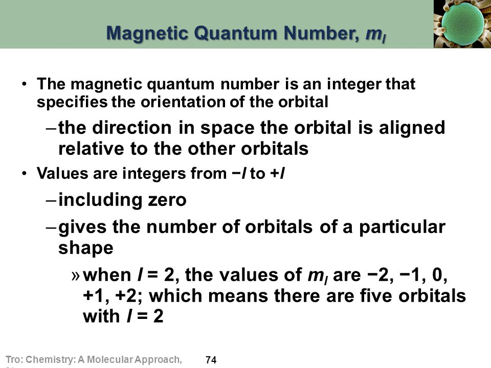 Magnetic Quantum Number, m l The magnetic quantum number is an integer that specifies the orientation of the orbital –the direction in space the orbital is aligned relative to the other orbitals Values are integers from −l to +l –including zero –gives the number of orbitals of a particular shape »when l = 2, the values of m l are −2, −1, 0, +1, +2; which means there are five orbitals with l = 2 74 Tro: Chemistry: A Molecular Approach, 2/e