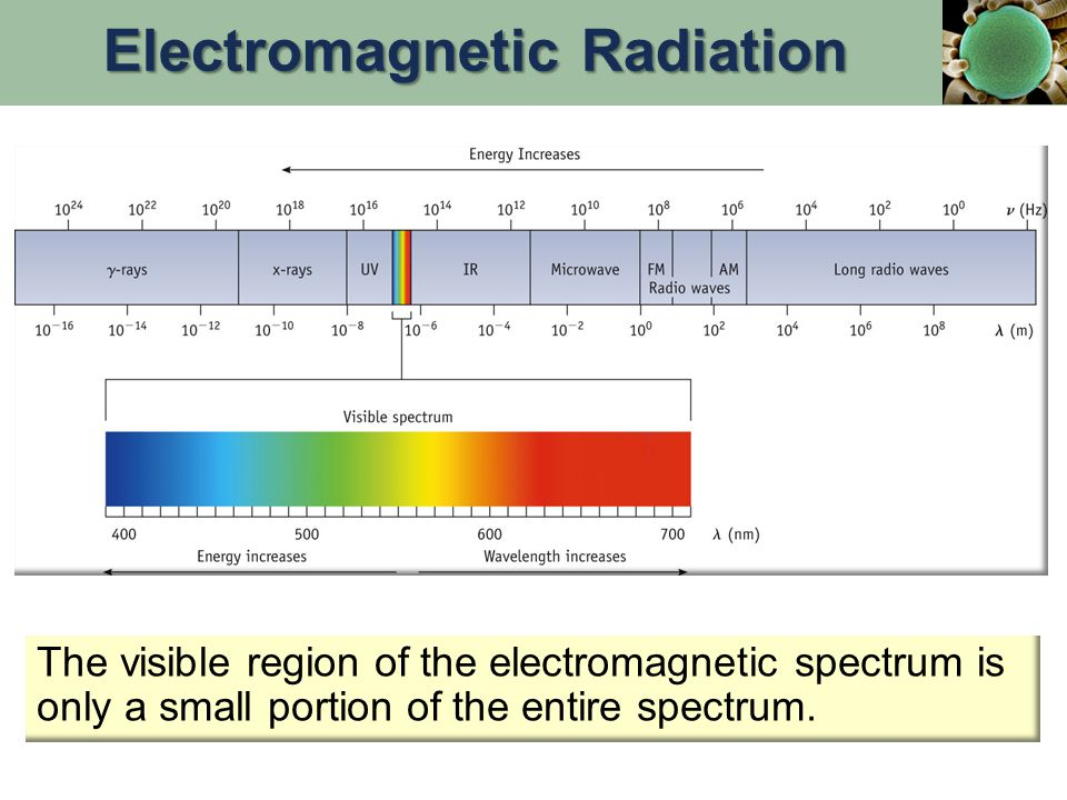 The visible region of the electromagnetic spectrum is only a small portion of the entire spectrum.