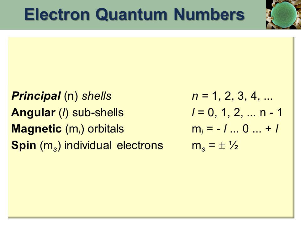 Principal (n) shellsn = 1, 2, 3, 4,... Angular (l) sub-shellsl = 0, 1, 2,...