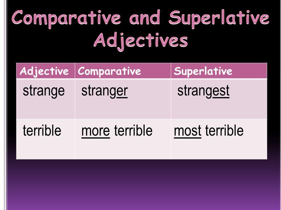 AdjectiveComparativeSuperlative strange stranger strangest terrible more terriblemost terrible