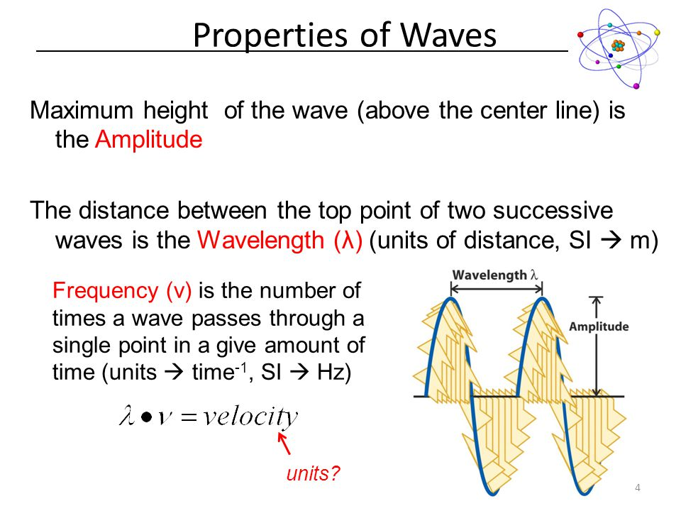 Maximum height of the wave (above the center line) is the Amplitude The distance between the top point of two successive waves is the Wavelength (λ) (units of distance, SI  m) Properties of Waves 4 Frequency (ν) is the number of times a wave passes through a single point in a give amount of time (units  time -1, SI  Hz) units