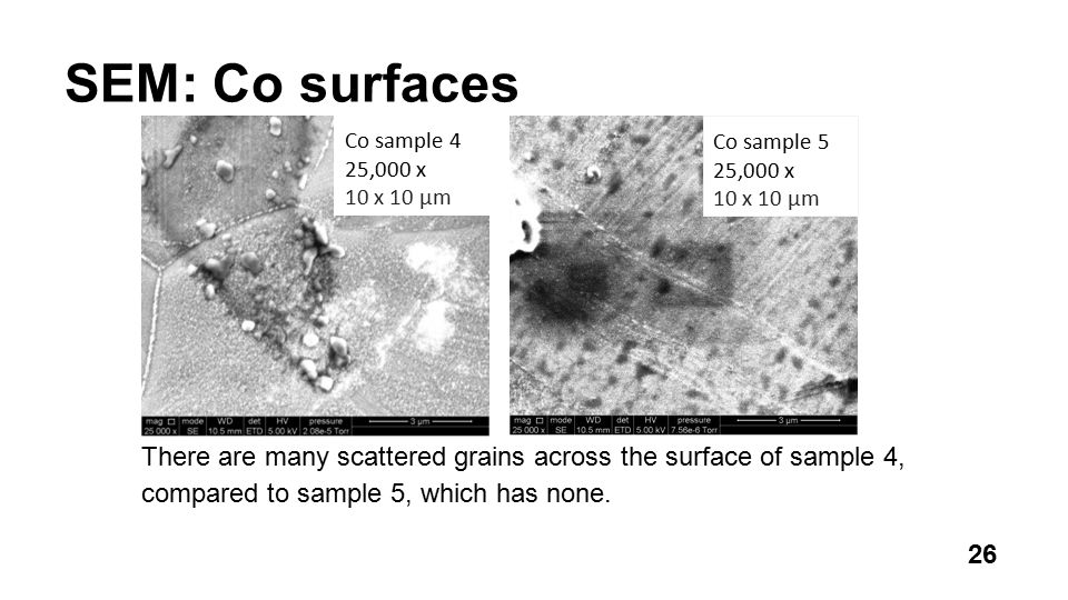 SEM: Co surfaces There are many scattered grains across the surface of sample 4, compared to sample 5, which has none.
