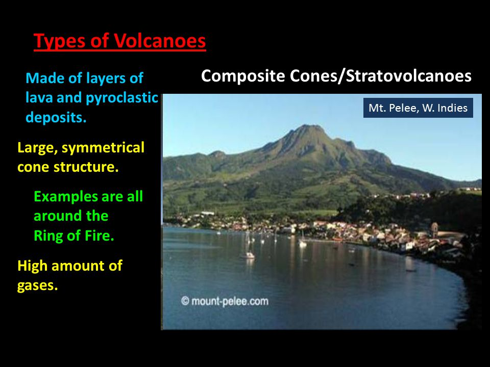 Types of Volcanoes Composite Cones/Stratovolcanoes Made of layers of lava and pyroclastic deposits. Large, symmetrical cone structure. Examples are al