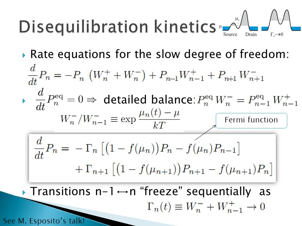  Rate equations for the slow degree of freedom:  detailed balance:  Transitions n-1↔n freeze sequentially as Fermi function See M.