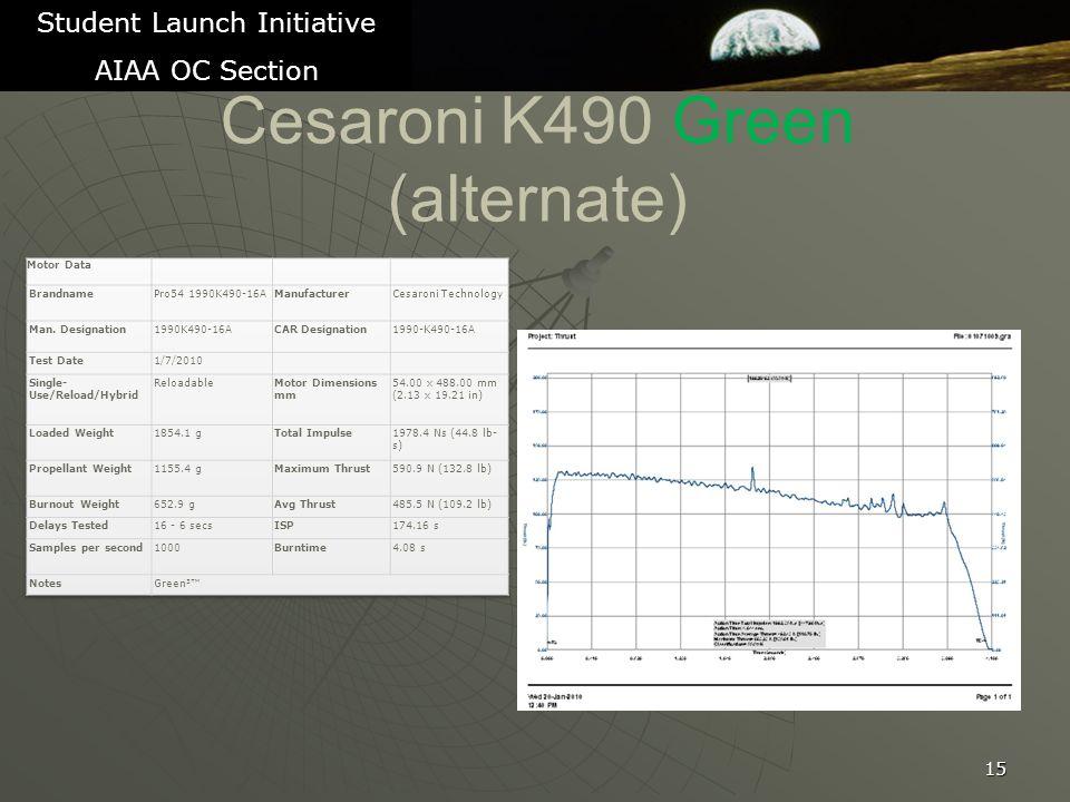 Cesaroni K490 Green (alternate) 15 Student Launch Initiative AIAA OC Section