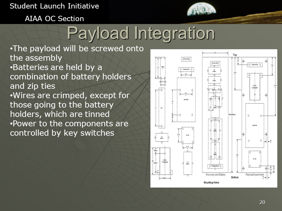 Payload Integration 20 Student Launch Initiative AIAA OC Section The payload will be screwed onto the assembly Batteries are held by a combination of