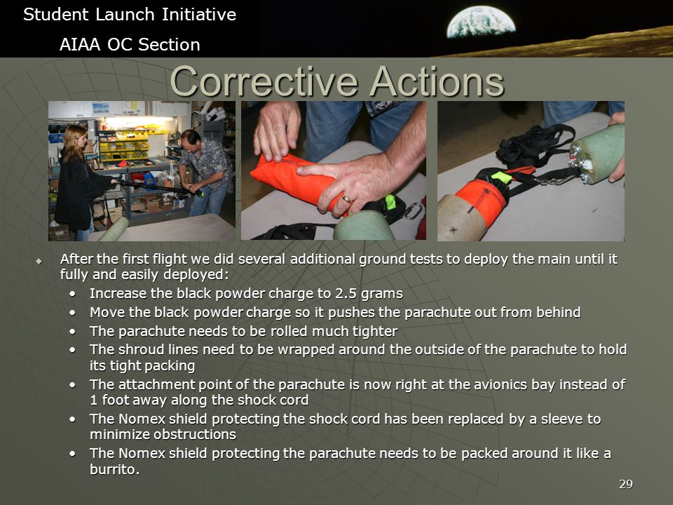 Corrective Actions  After the first flight we did several additional ground tests to deploy the main until it fully and easily deployed: Increase the black powder charge to 2.5 gramsIncrease the black powder charge to 2.5 grams Move the black powder charge so it pushes the parachute out from behindMove the black powder charge so it pushes the parachute out from behind The parachute needs to be rolled much tighterThe parachute needs to be rolled much tighter The shroud lines need to be wrapped around the outside of the parachute to hold its tight packingThe shroud lines need to be wrapped around the outside of the parachute to hold its tight packing The attachment point of the parachute is now right at the avionics bay instead of 1 foot away along the shock cordThe attachment point of the parachute is now right at the avionics bay instead of 1 foot away along the shock cord The Nomex shield protecting the shock cord has been replaced by a sleeve to minimize obstructionsThe Nomex shield protecting the shock cord has been replaced by a sleeve to minimize obstructions The Nomex shield protecting the parachute needs to be packed around it like a burrito.The Nomex shield protecting the parachute needs to be packed around it like a burrito.