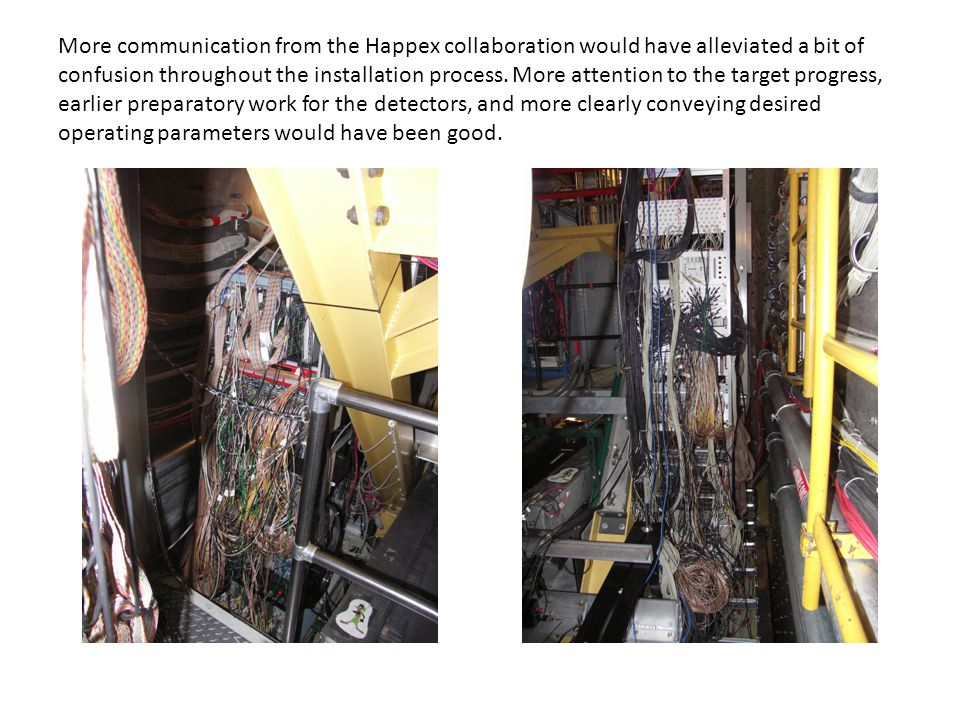 More communication from the Happex collaboration would have alleviated a bit of confusion throughout the installation process.