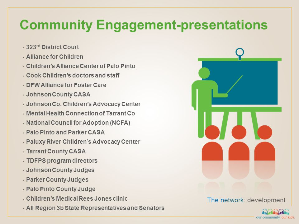 Community Engagement-presentations The network: development 323 rd District Court Alliance for Children Children's Alliance Center of Palo Pinto Cook