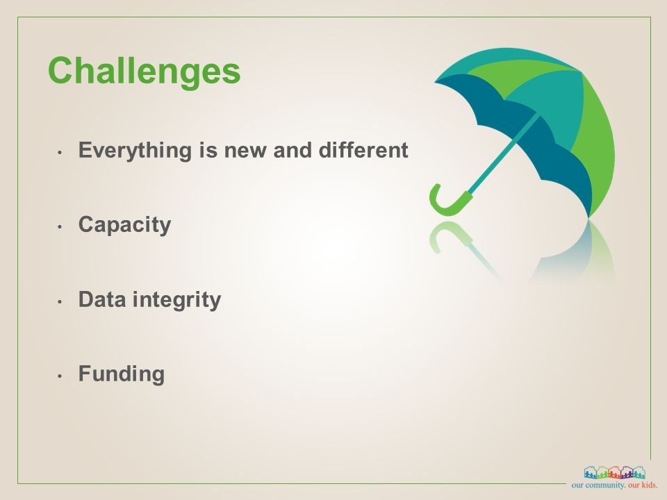 Challenges Everything is new and different Capacity Data integrity Funding