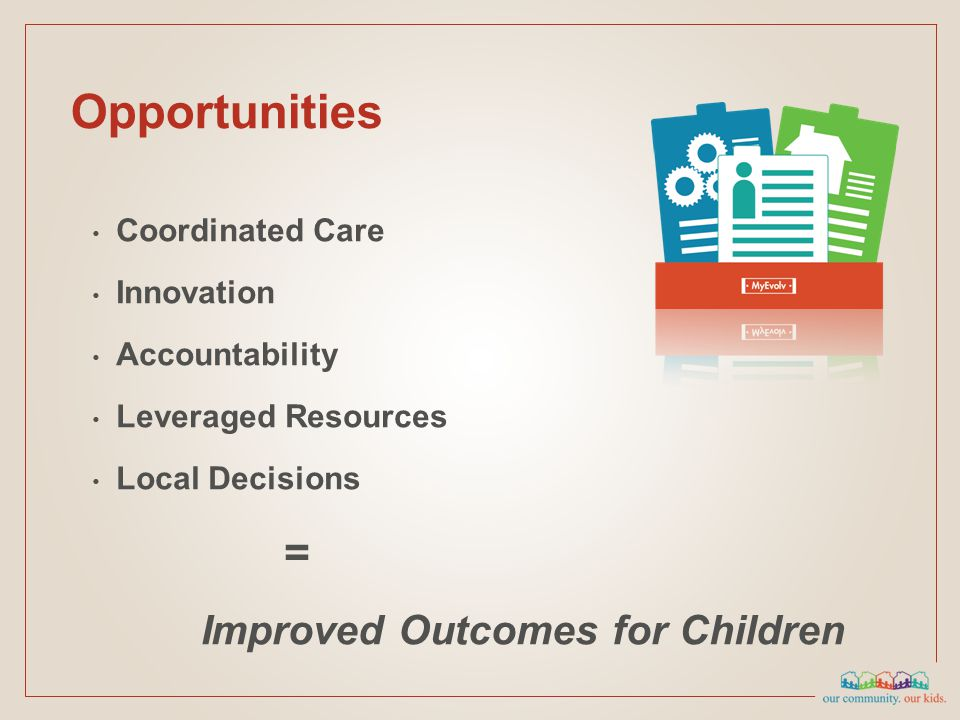 Coordinated Care Innovation Accountability Leveraged Resources Local Decisions = Improved Outcomes for Children Opportunities