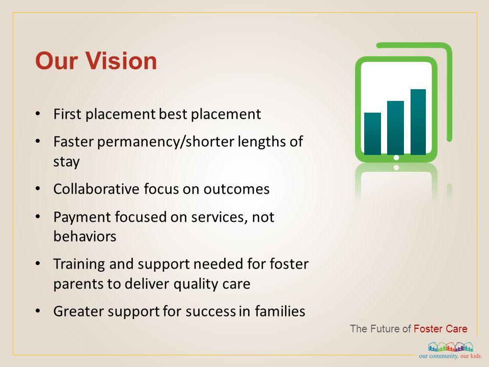 Our Vision The Future of Foster Care First placement best placement Faster permanency/shorter lengths of stay Collaborative focus on outcomes Payment