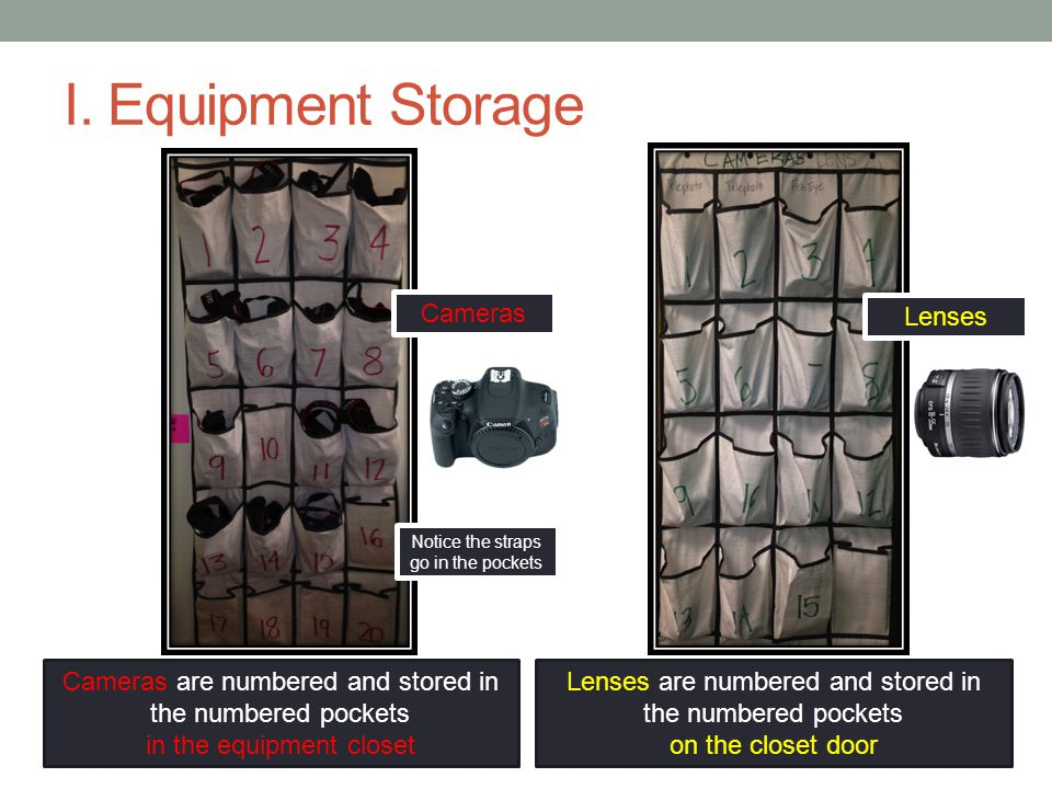 I. Equipment Storage Cameras are numbered and stored in the numbered pockets in the equipment closet Lenses are numbered and stored in the numbered po