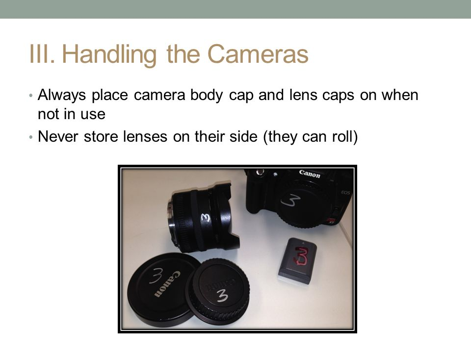 III. Handling the Cameras Always place camera body cap and lens caps on when not in use Never store lenses on their side (they can roll)