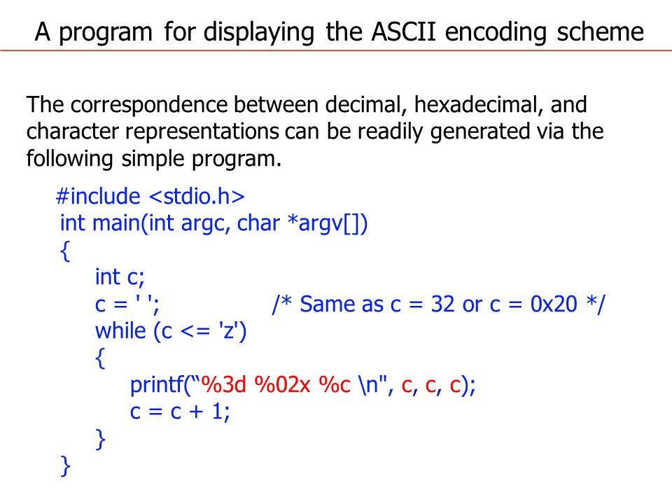 The correspondence between decimal, hexadecimal, and character representations can be readily generated via the following simple program.