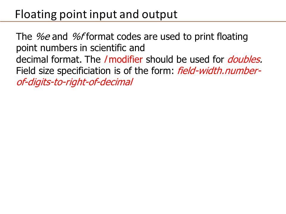The %e and %f format codes are used to print floating point numbers in scientific and decimal format.