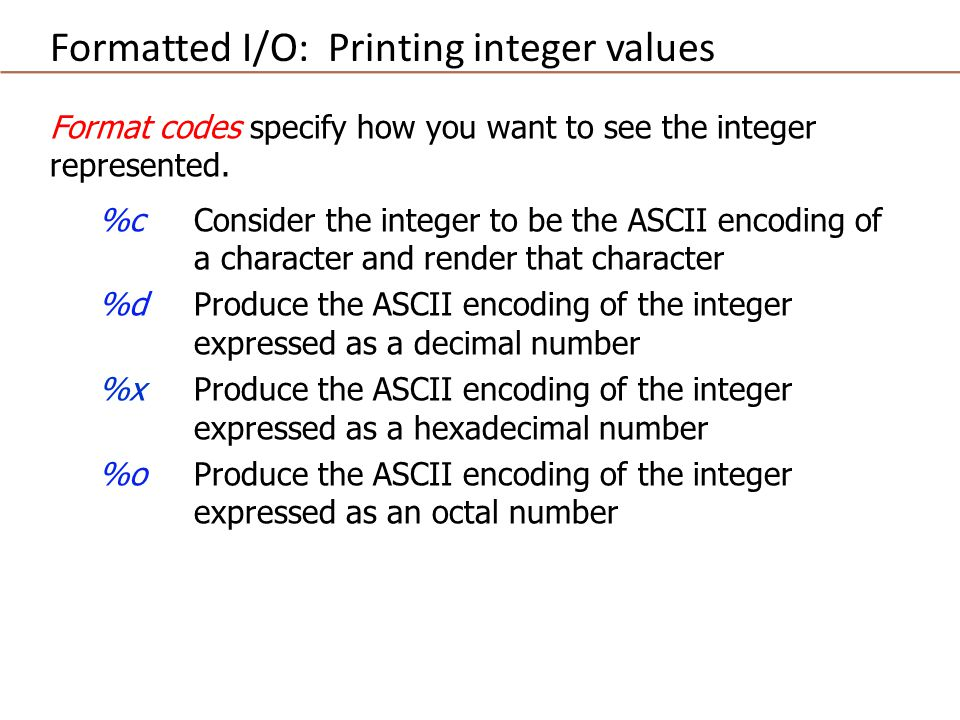 Format codes specify how you want to see the integer represented.