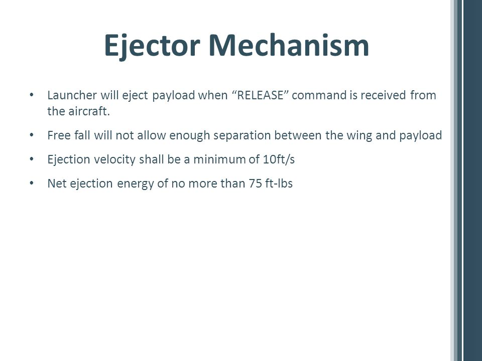 Ejector Mechanism Launcher will eject payload when RELEASE command is received from the aircraft.