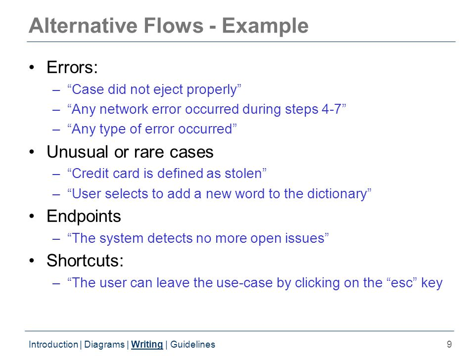 9 Alternative Flows - Example Errors: – Case did not eject properly – Any network error occurred during steps 4-7 – Any type of error occurred Unusual or rare cases – Credit card is defined as stolen – User selects to add a new word to the dictionary Endpoints – The system detects no more open issues Shortcuts: – The user can leave the use-case by clicking on the esc key Introduction | Diagrams | Writing | Guidelines