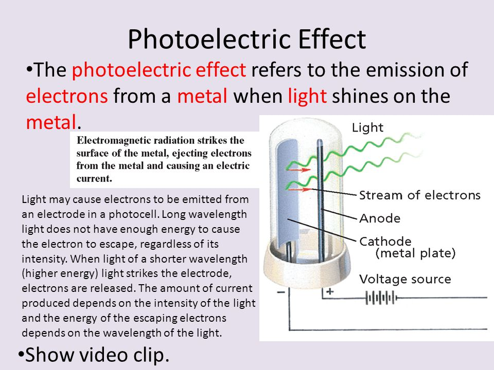 Photoelectric Effect The photoelectric effect refers to the emission of electrons from a metal when light shines on the metal. Light may cause electro