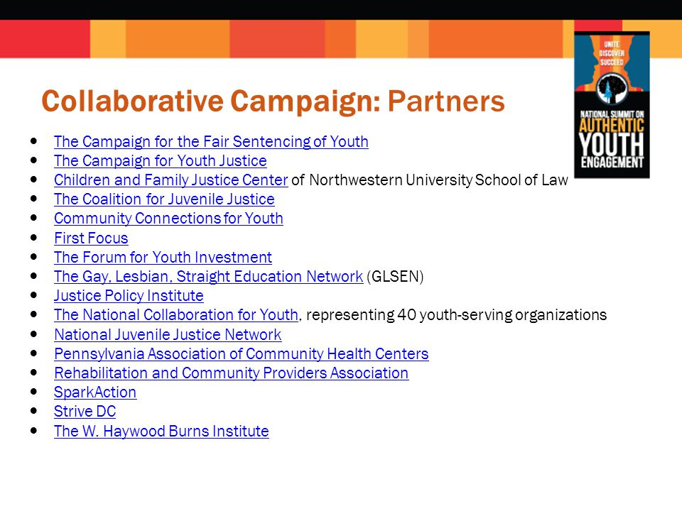 Collaborative Campaign: Partners The Campaign for the Fair Sentencing of Youth The Campaign for Youth Justice Children and Family Justice Center of Northwestern University School of LawChildren and Family Justice Center The Coalition for Juvenile Justice Community Connections for Youth First Focus The Forum for Youth Investment The Gay, Lesbian, Straight Education Network (GLSEN)The Gay, Lesbian, Straight Education Network Justice Policy Institute The National Collaboration for Youth, representing 40 youth-serving organizationsThe National Collaboration for Youth National Juvenile Justice Network Pennsylvania Association of Community Health Centers Rehabilitation and Community Providers Association SparkAction Strive DC The W.