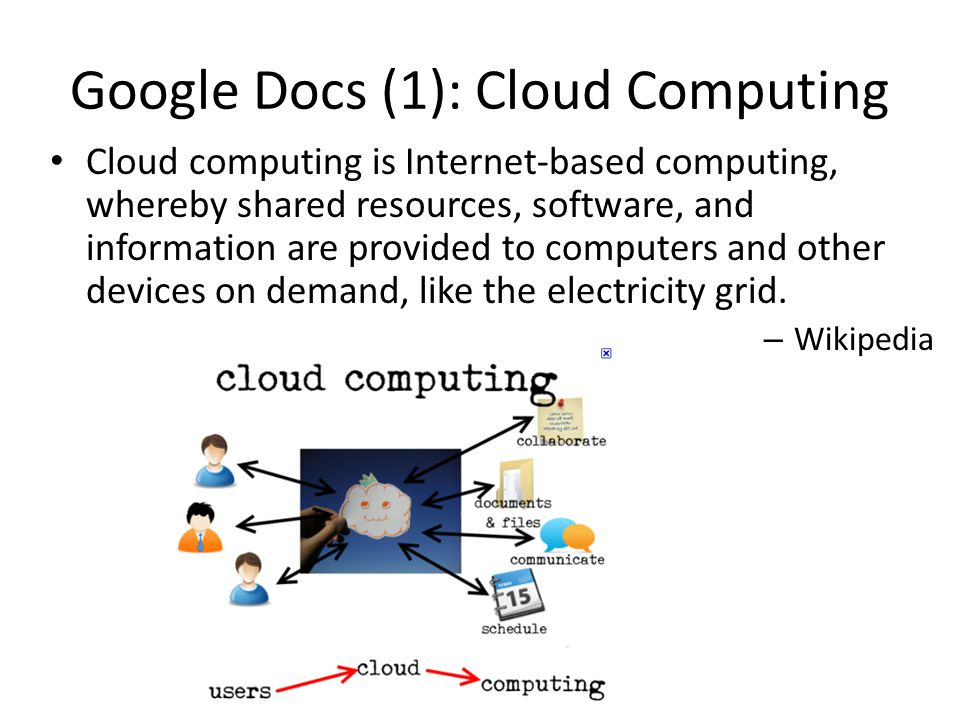 Google Docs (1): Cloud Computing Cloud computing is Internet-based computing, whereby shared resources, software, and information are provided to comp