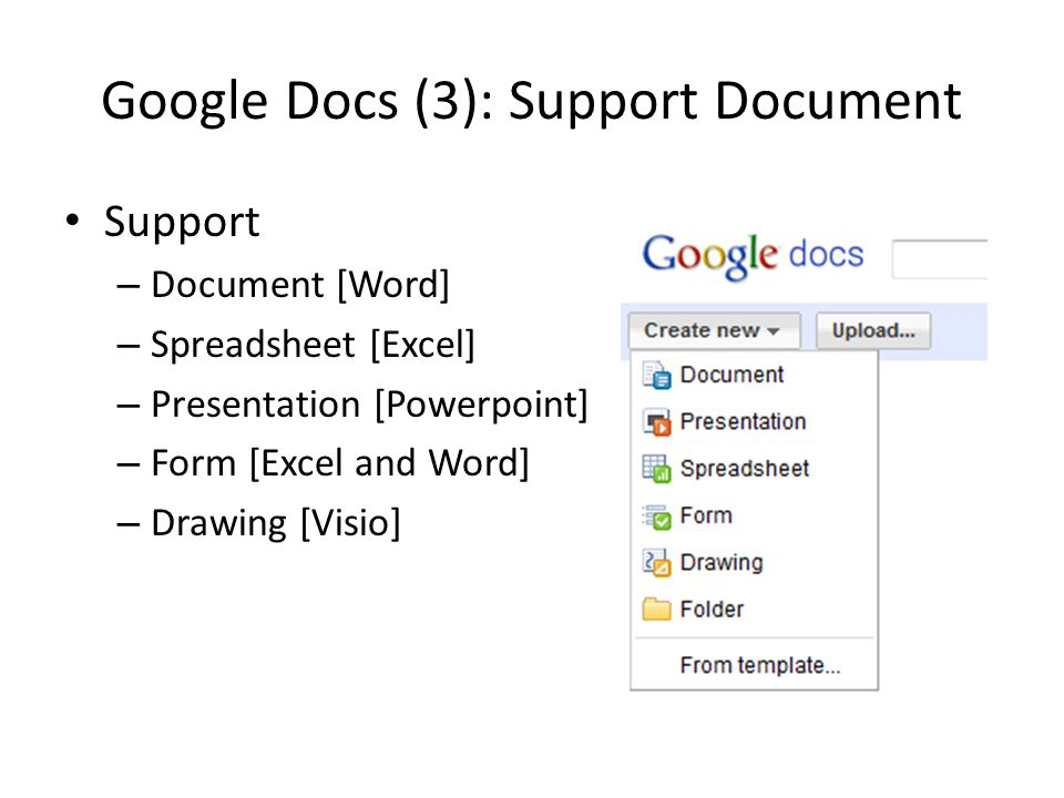 Google Docs (3): Support Document Support – Document [Word] – Spreadsheet [Excel] – Presentation [Powerpoint] – Form [Excel and Word] – Drawing [Visio]