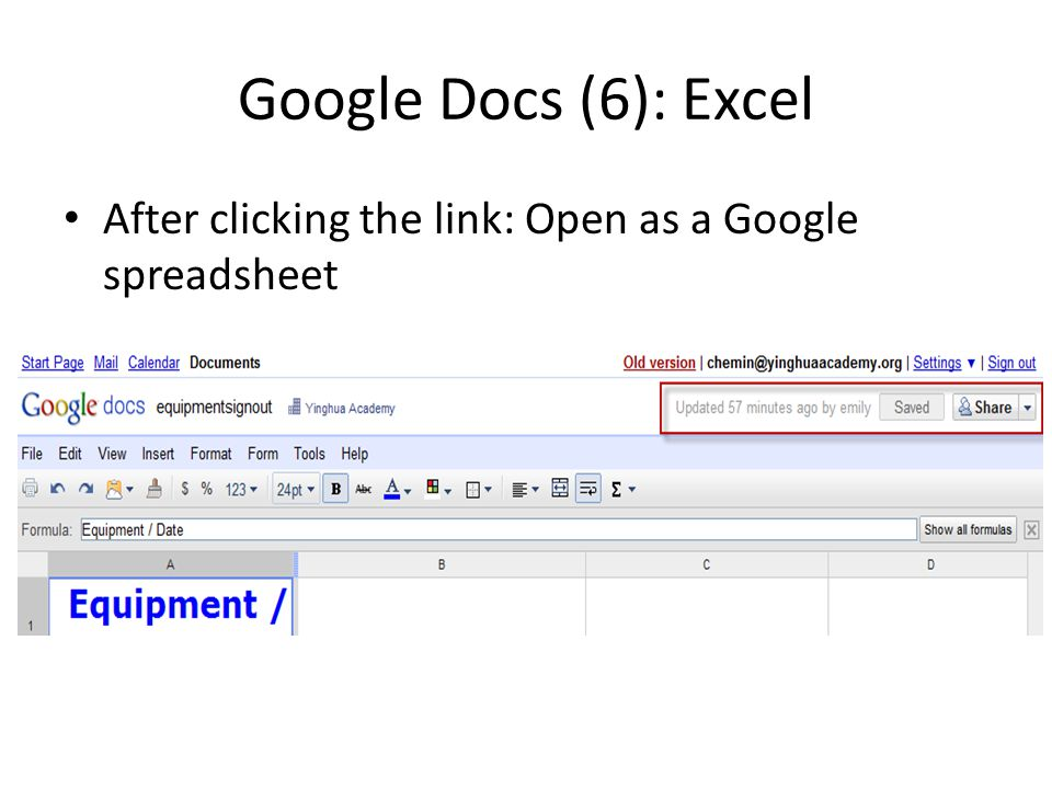 Google Docs (6): Excel After clicking the link: Open as a Google spreadsheet