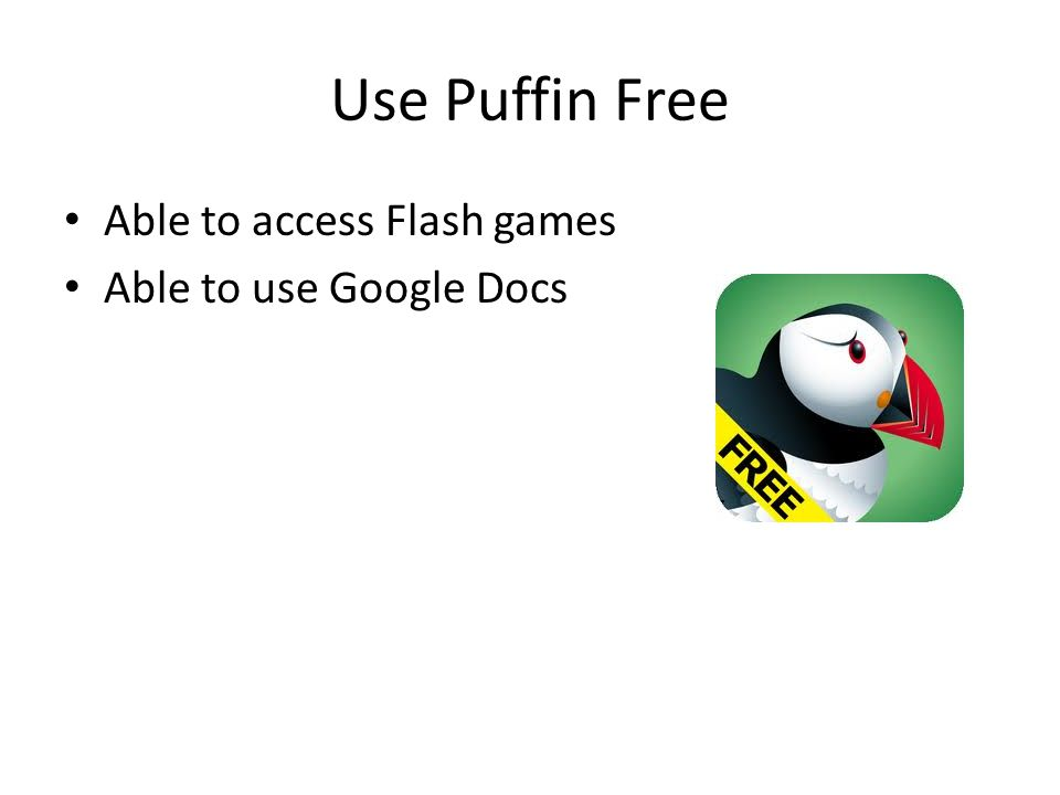 Use Puffin Free Able to access Flash games Able to use Google Docs