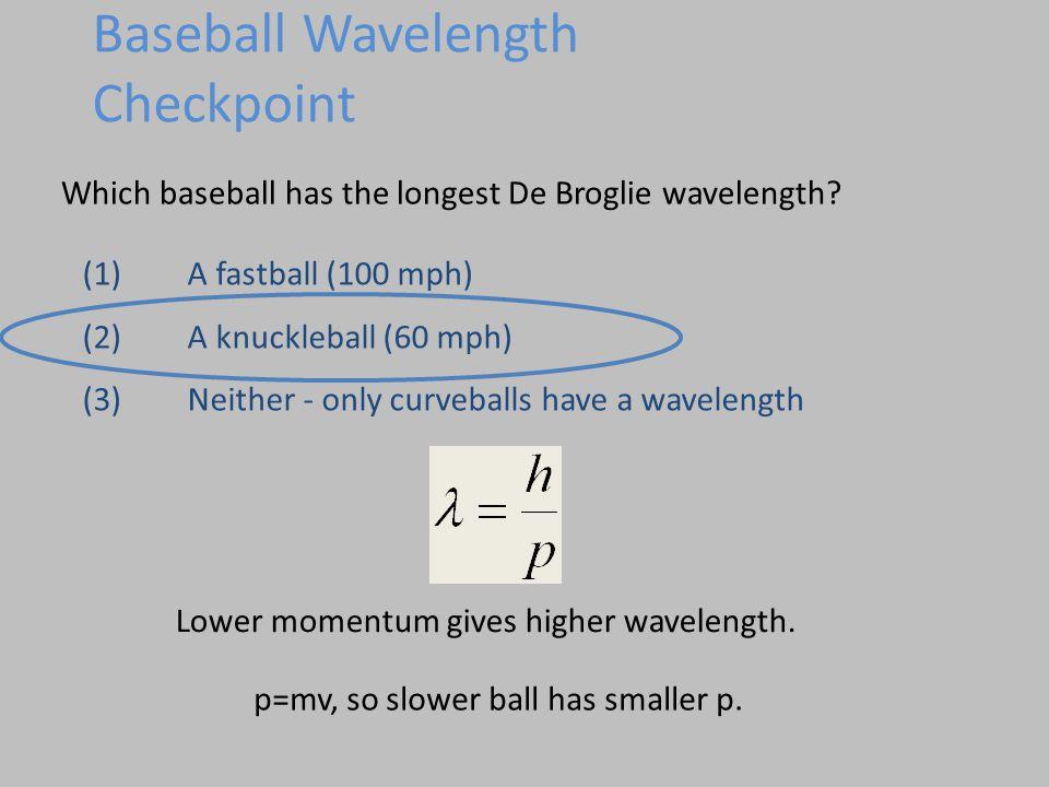 Which baseball has the longest De Broglie wavelength.