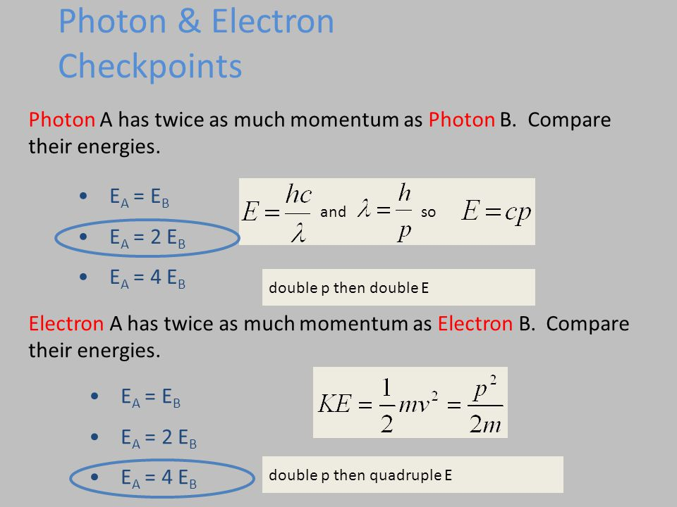Photon A has twice as much momentum as Photon B. Compare their energies.