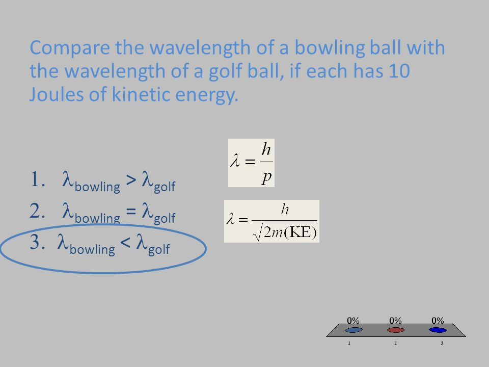 Compare the wavelength of a bowling ball with the wavelength of a golf ball, if each has 10 Joules of kinetic energy.