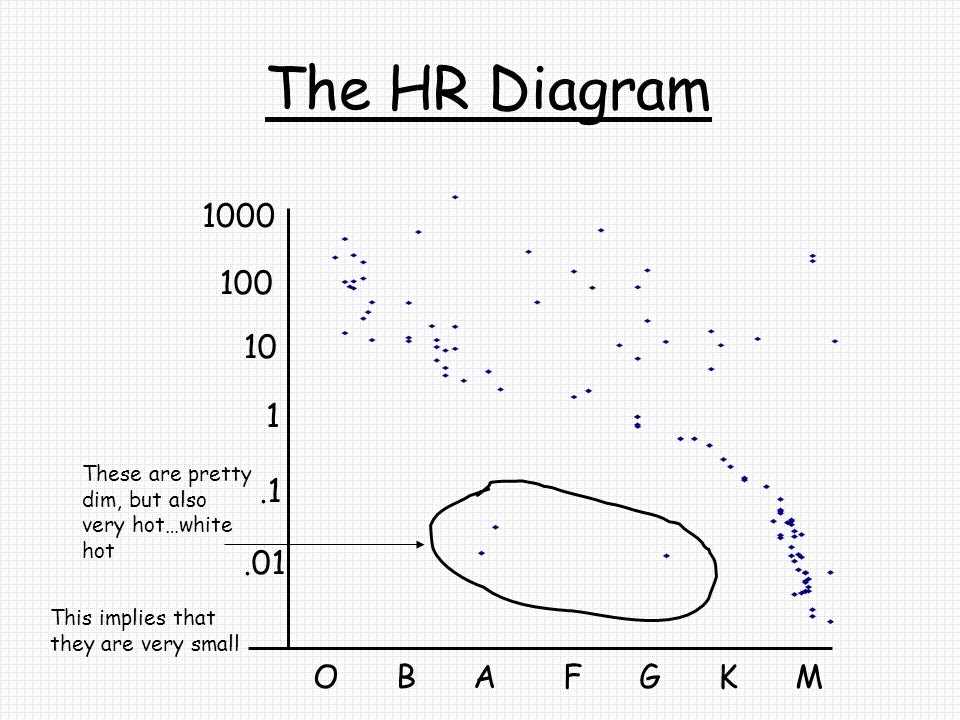 The HR Diagram O B A F G K M 1.1 10.01 100 1000 These are pretty dim, but also very hot…white hot This implies that they are very small