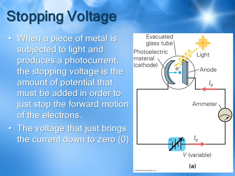 Stopping Voltage When a piece of metal is subjected to light and produces a photocurrent, the stopping voltage is the amount of potential that must be added in order to just stop the forward motion of the electrons.When a piece of metal is subjected to light and produces a photocurrent, the stopping voltage is the amount of potential that must be added in order to just stop the forward motion of the electrons.