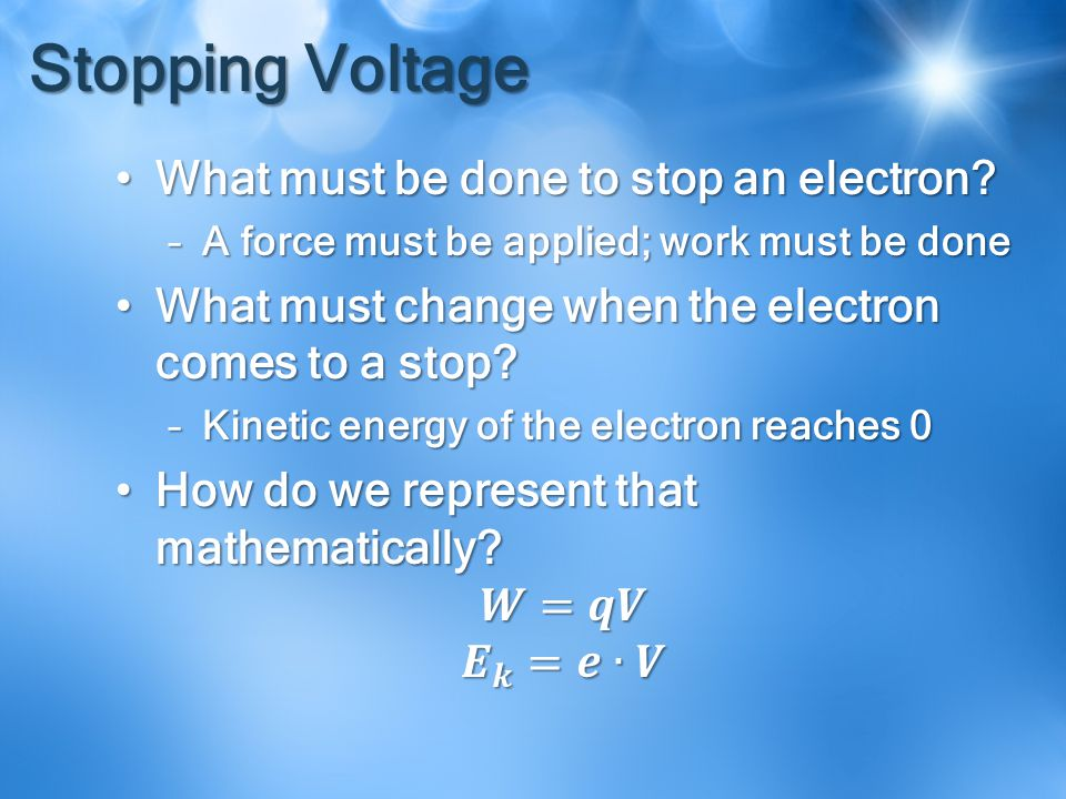 Stopping Voltage