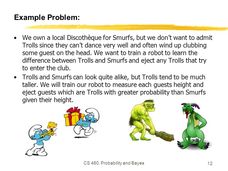 CS 460, Probability and Bayes 12 Example Problem: We own a local Discothèque for Smurfs, but we don't want to admit Trolls since they can't dance very well and often wind up clubbing some guest on the head.