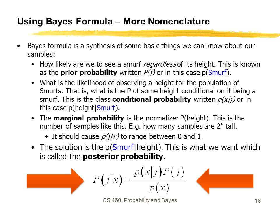 Using Bayes Formula – More Nomenclature Bayes formula is a synthesis of some basic things we can know about our samples: How likely are we to see a smurf regardless of its height.