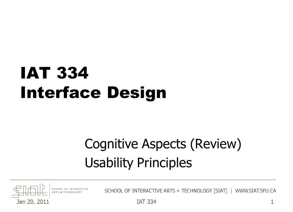Jan 20, 2011IAT 3341 IAT 334 Interface Design Cognitive Aspects (Review) Usability Principles ________________________________________________________