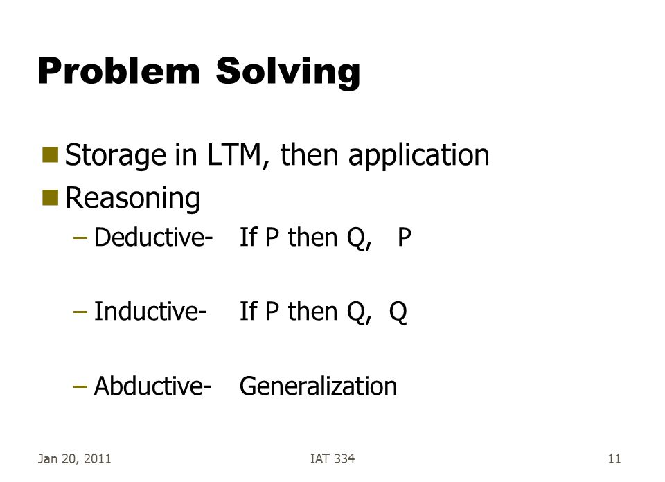 Jan 20, 2011IAT 33411 Problem Solving  Storage in LTM, then application  Reasoning –Deductive-If P then Q, P –Inductive-If P then Q, Q –Abductive-Ge
