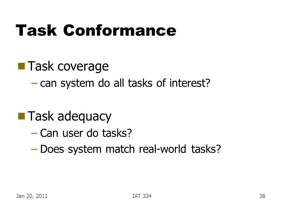Jan 20, 2011IAT 33436 Task Conformance  Task coverage –can system do all tasks of interest?  Task adequacy –Can user do tasks? –Does system match re