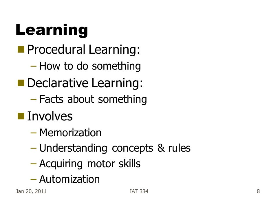 Jan 20, 2011IAT 3348 Learning  Procedural Learning: –How to do something  Declarative Learning: –Facts about something  Involves –Memorization –Und
