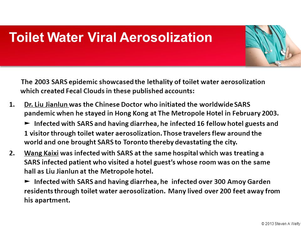 The 2003 SARS epidemic showcased the lethality of toilet water aerosolization which created Fecal Clouds in these published accounts: 1.Dr. Liu Jianlu