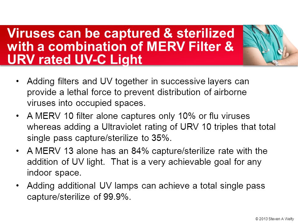Adding filters and UV together in successive layers can provide a lethal force to prevent distribution of airborne viruses into occupied spaces. A MER