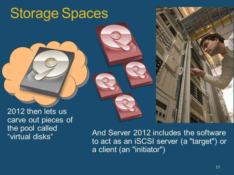 Storage Spaces 17 2012 then lets us carve out pieces of the pool called virtual disks And Server 2012 includes the software to act as an iSCSI server (a target ) or a client (an initiator )