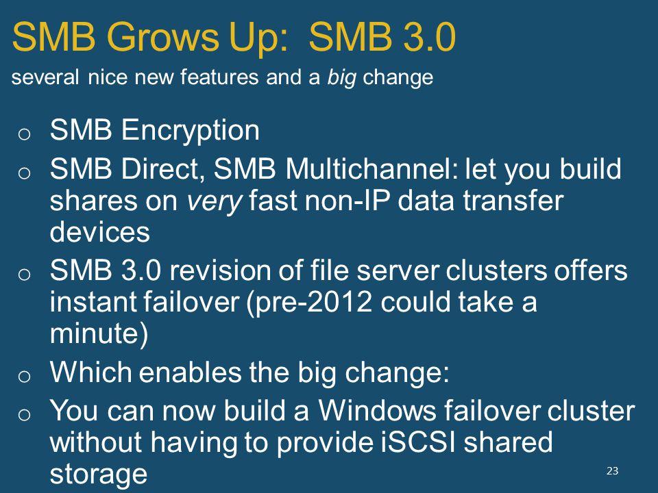 SMB Grows Up: SMB 3.0 23