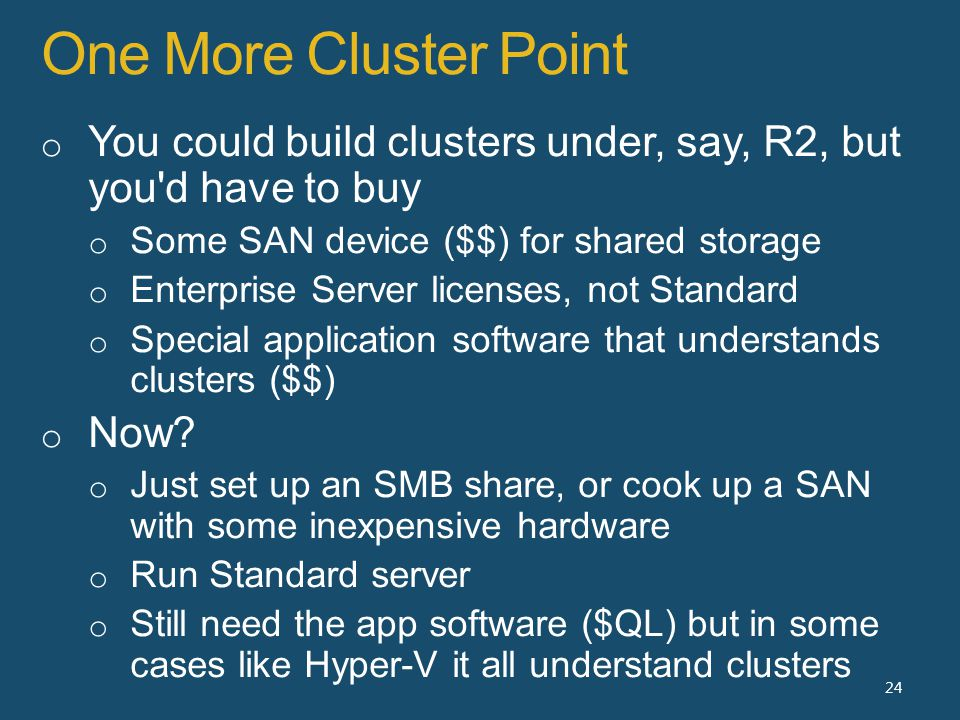 One More Cluster Point 24