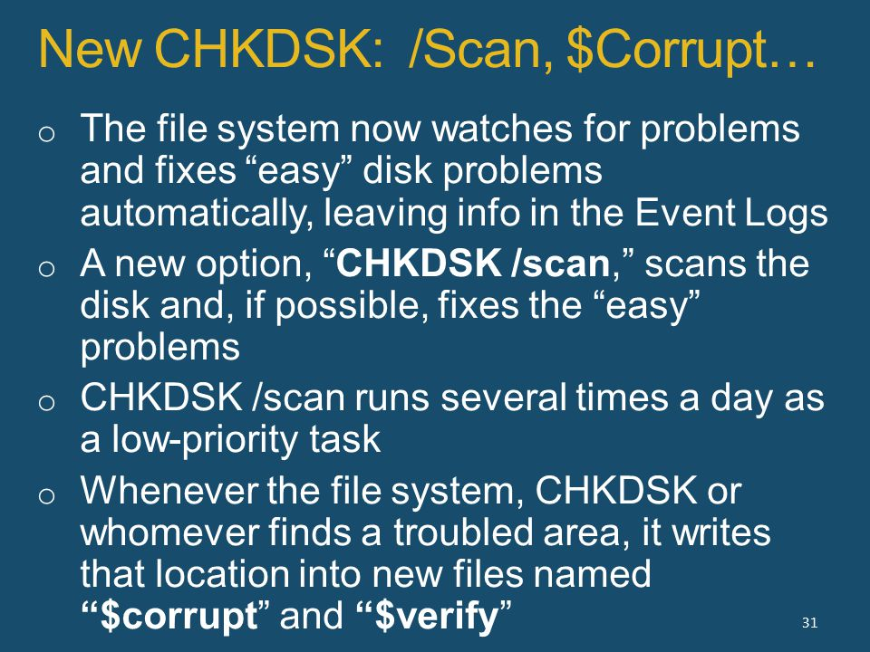 New CHKDSK: /Scan, $Corrupt… 31